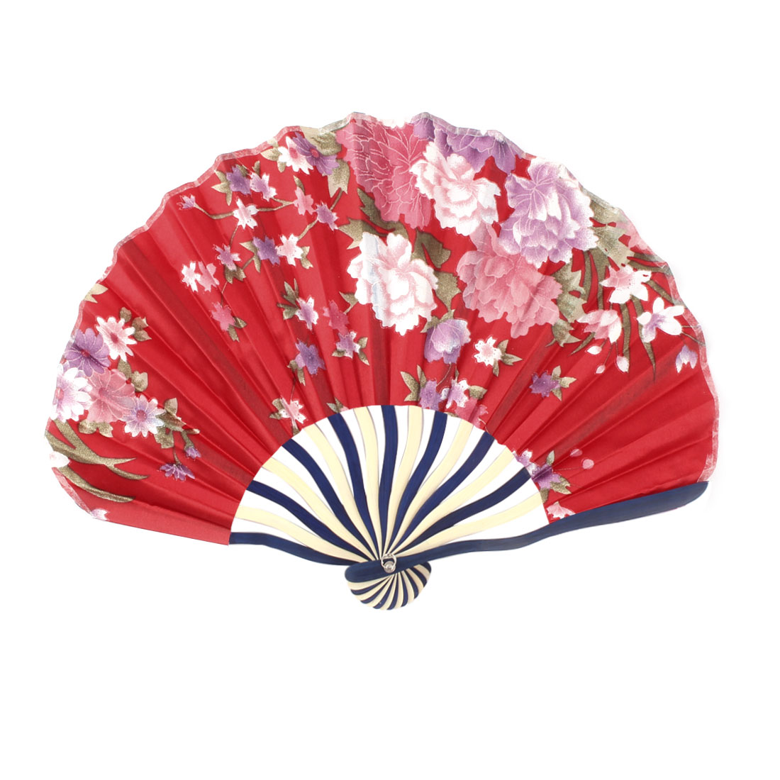 Women Bamboo Frame Peony Printed Seashell Shaped Summer Hand Folding Cooling Fan