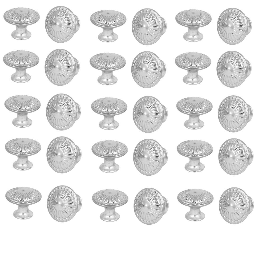 Wardrobe Cabinet Flower Printed Round Pull Knobs Silver Tone 28mmx22mm 30pcs