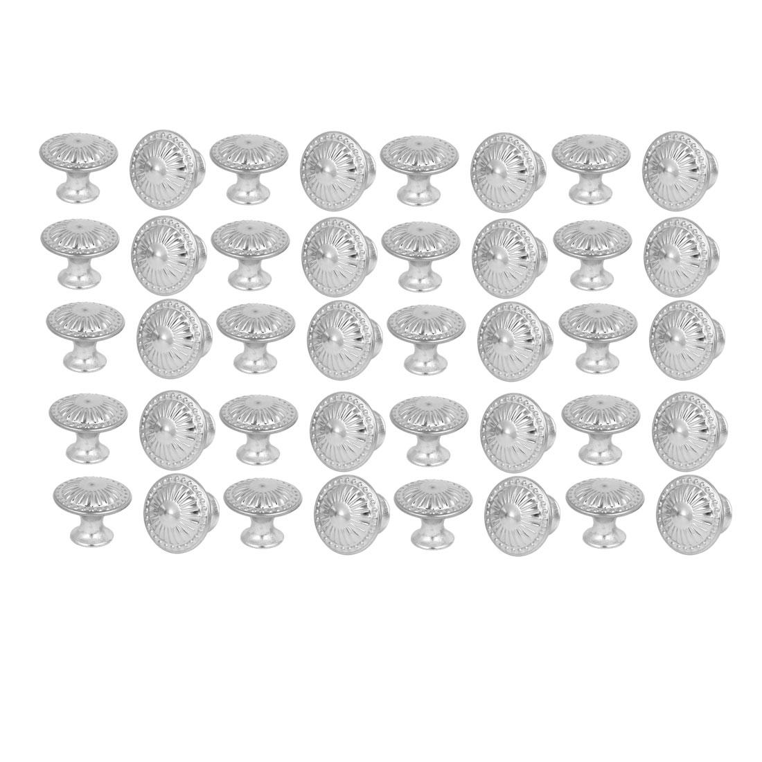 Wardrobe Cabinet Flower Printed Round Pull Knobs Silver Tone 28mmx22mm 40pcs