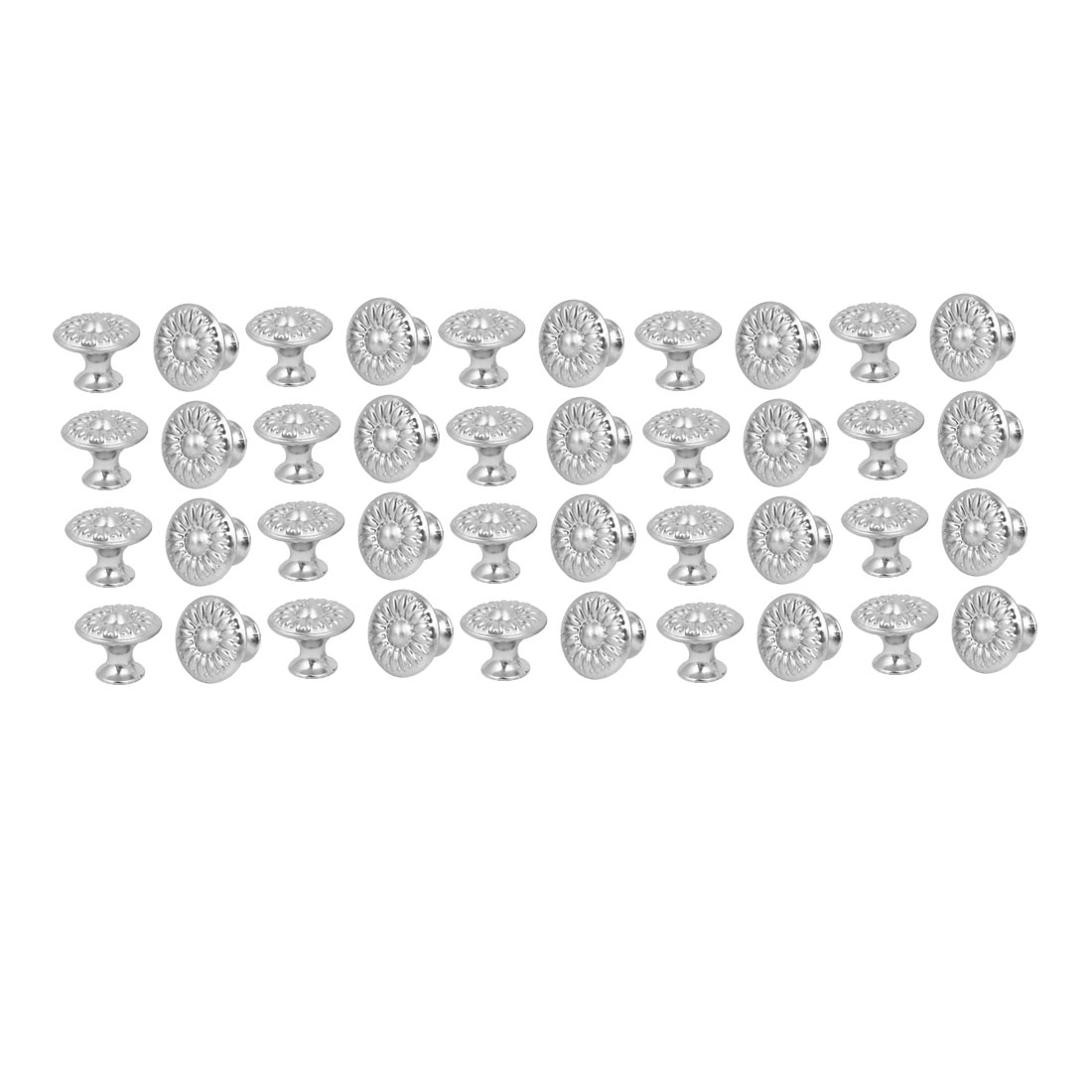 Cabinet Drawer Single Hole Flower Pattern Pull Knobs Silver Tone 27mmx22mm 40pcs