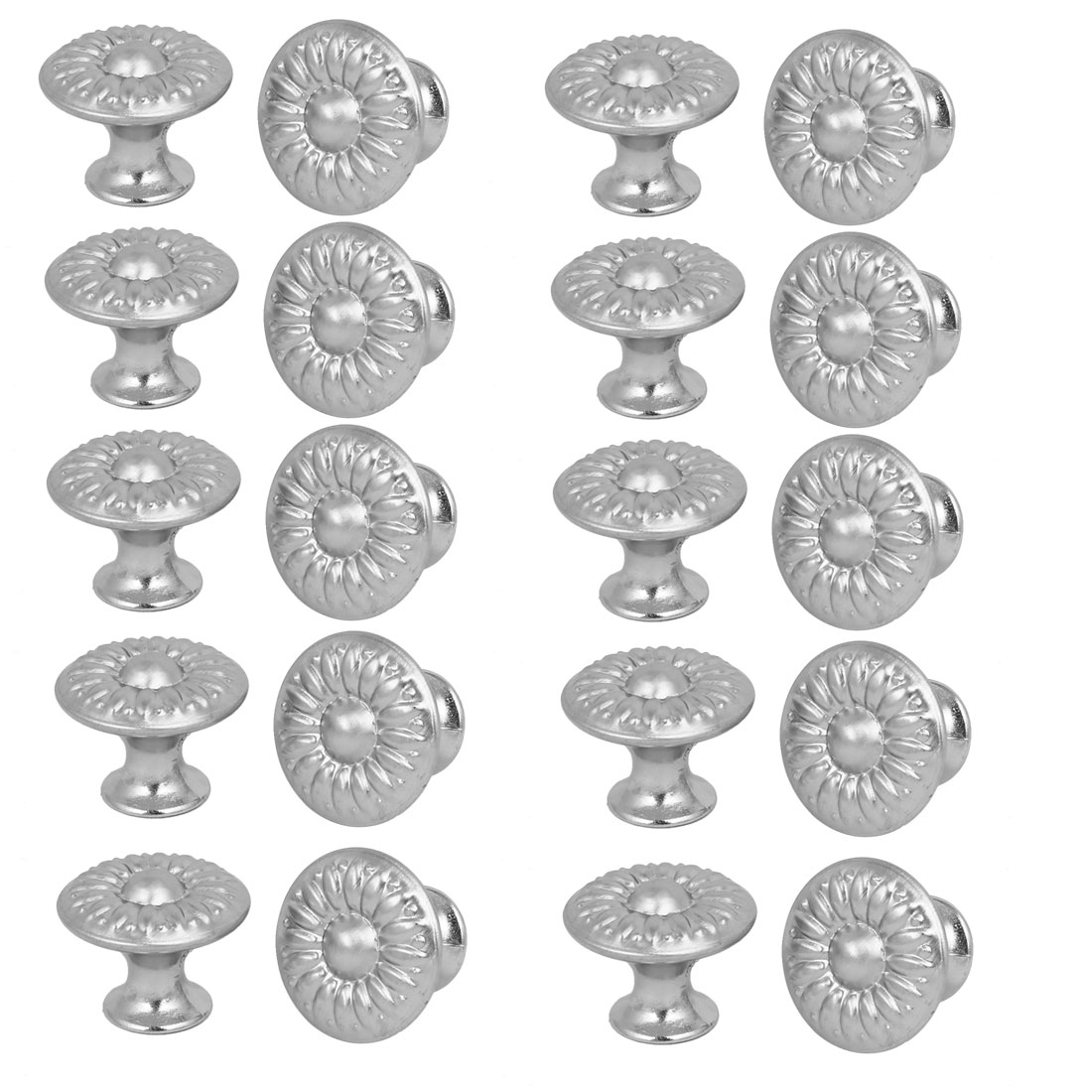 Cabinet Drawer Single Hole Flower Pattern Pull Knobs Silver Tone 27mmx22mm 20pcs