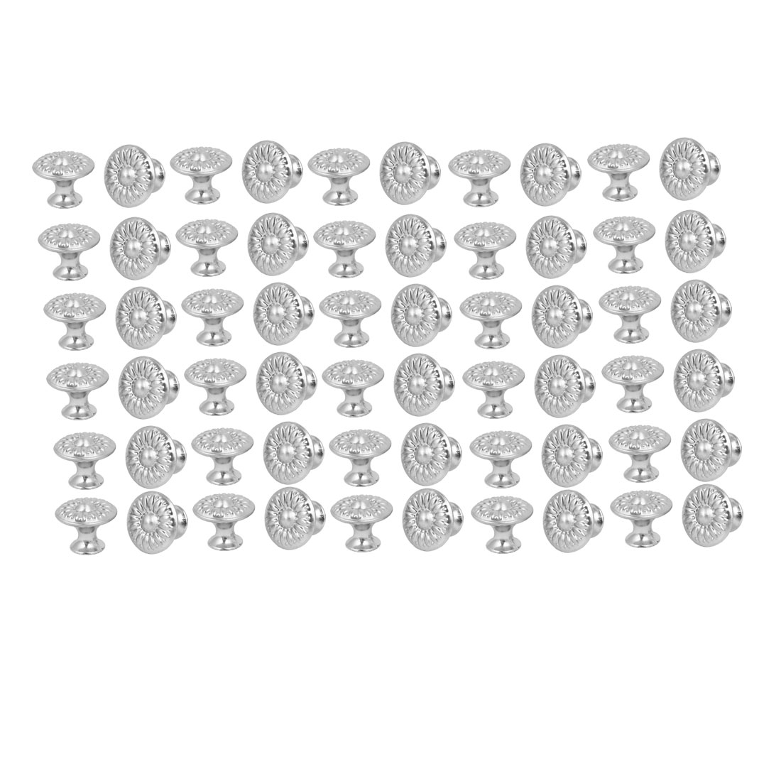 Cabinet Drawer Single Hole Flower Pattern Pull Knobs Silver Tone 27mmx22mm 60pcs