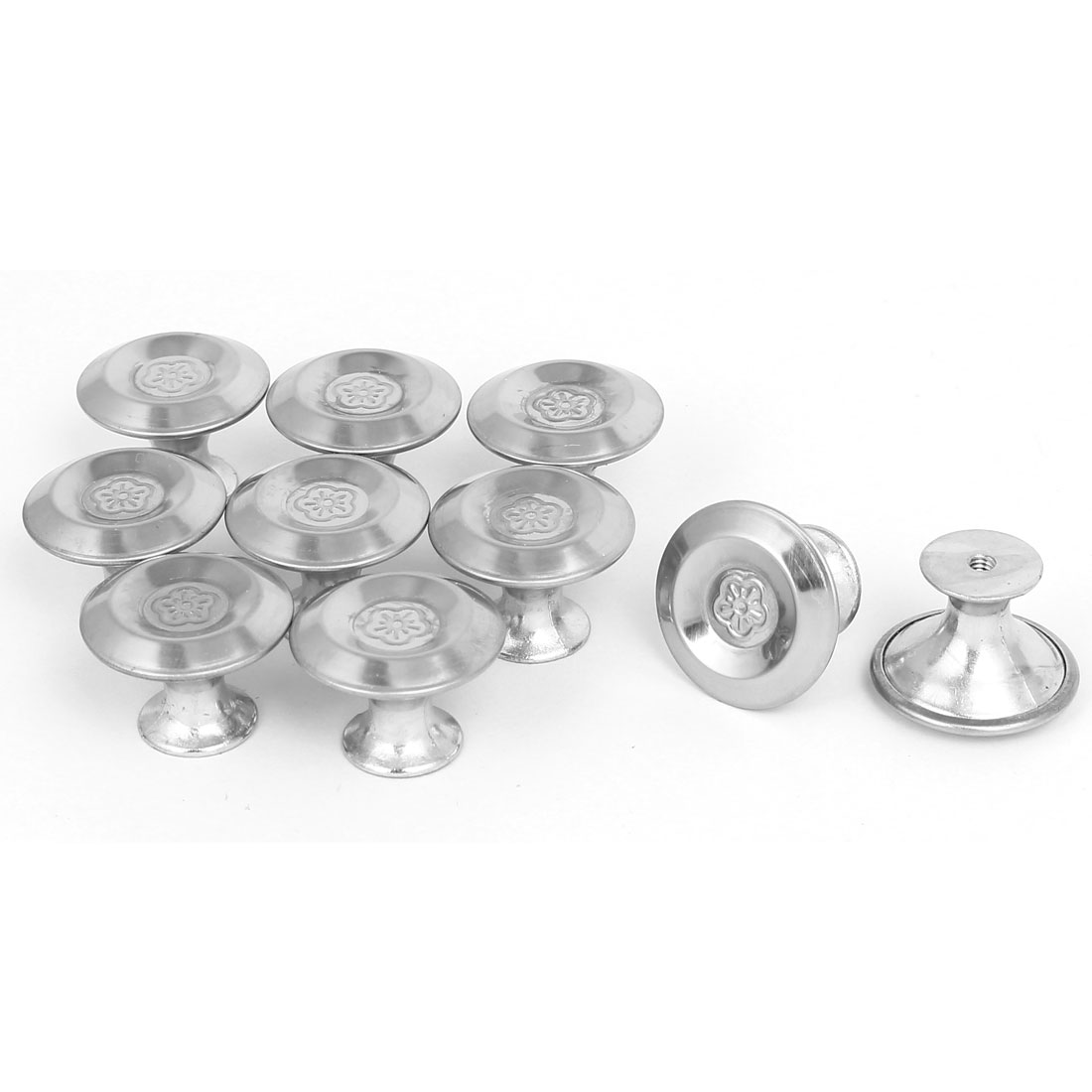 Cabinet Drawer Metal Single Hole Flower Pattern Pull Knobs 27.5mmx20mm 10pcs