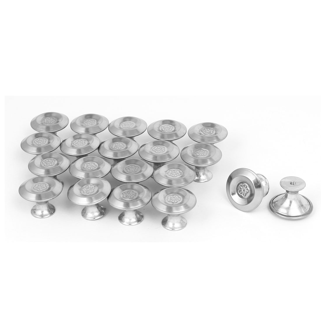 Cabinet Drawer Metal Single Hole Flower Pattern Pull Knobs 27.5mmx20mm 20pcs
