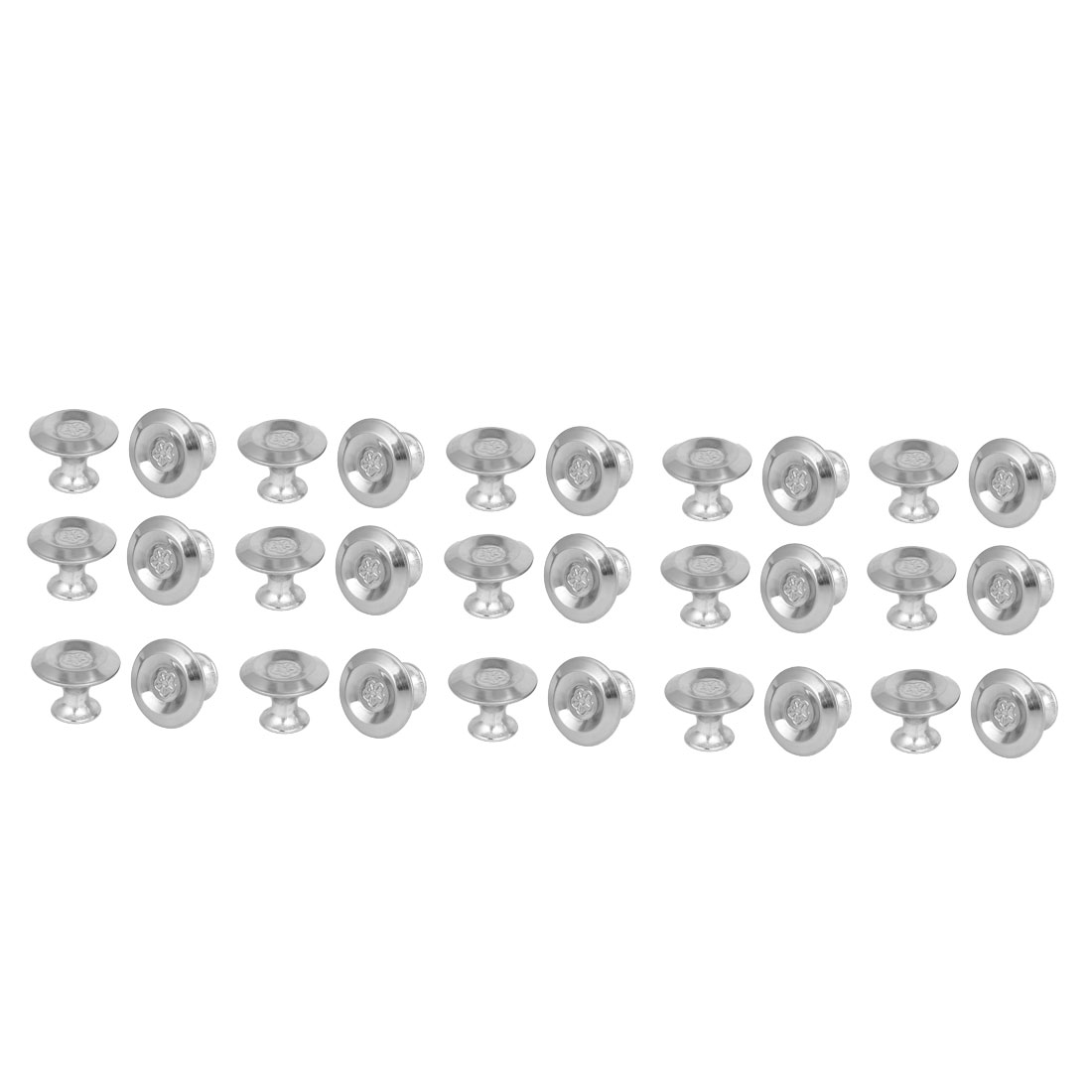 Cabinet Drawer Metal Single Hole Flower Pattern Pull Knobs 27.5mmx20mm 30pcs
