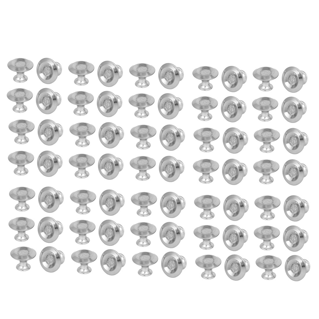 Cabinet Drawer Metal Single Hole Flower Pattern Pull Knobs 27.5mmx20mm 70pcs