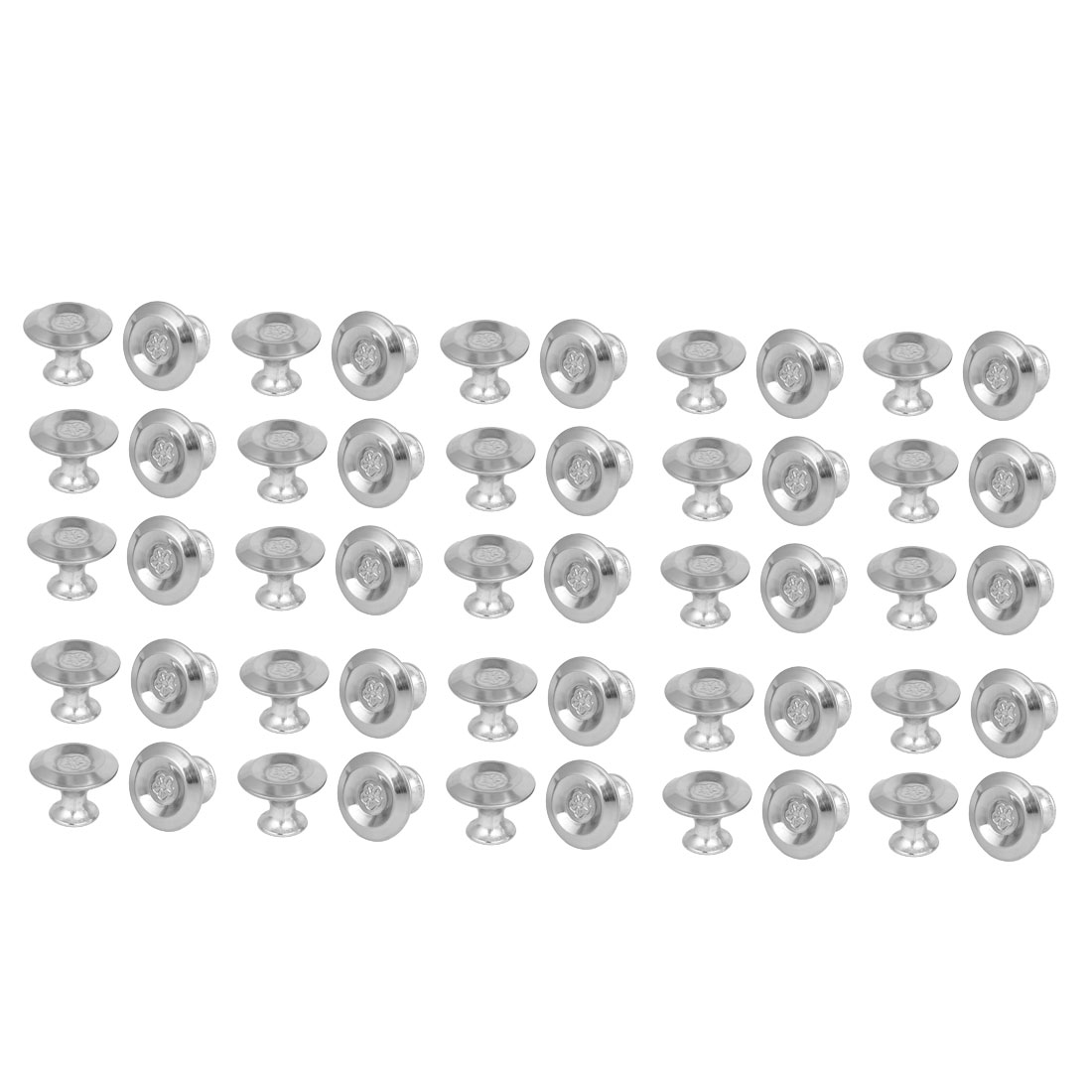 Cabinet Drawer Metal Single Hole Flower Pattern Pull Knobs 27.5mmx20mm 50pcs