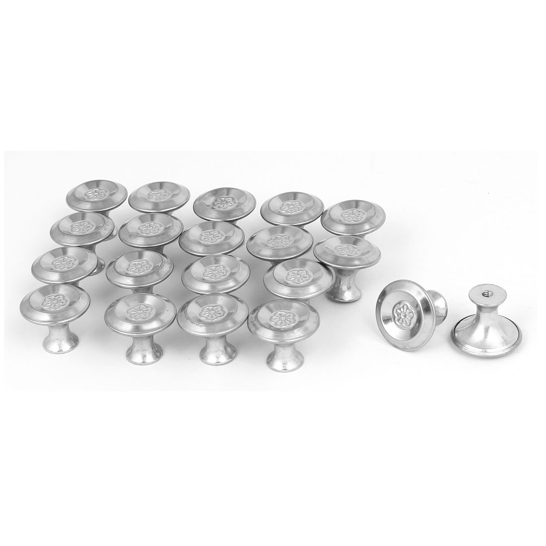 Cabinet Drawer Single Hole Flower Printed Pull Knobs Silver Tone 24mmx19mm 20pcs