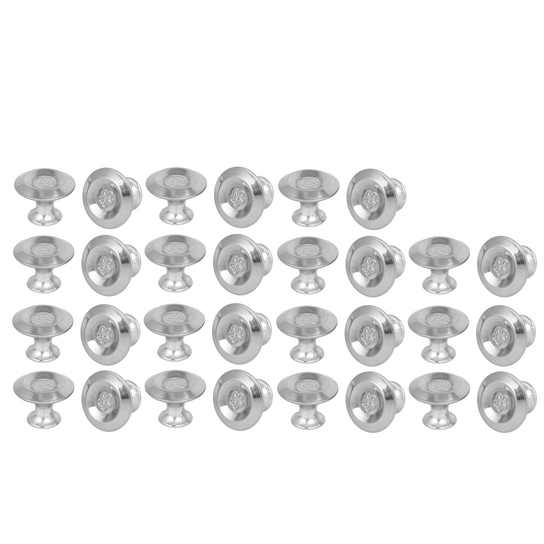 Cabinet Drawer Metal Single Hole Flower Pattern Pull Knobs 24mmx19mm 30pcs