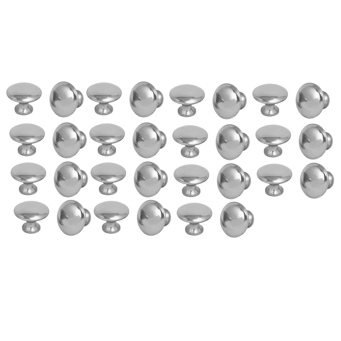 Cupboard Cabinet Drawer Single Hole Round Pull Knobs Silver Tone 30mmx23mm 30pcs
