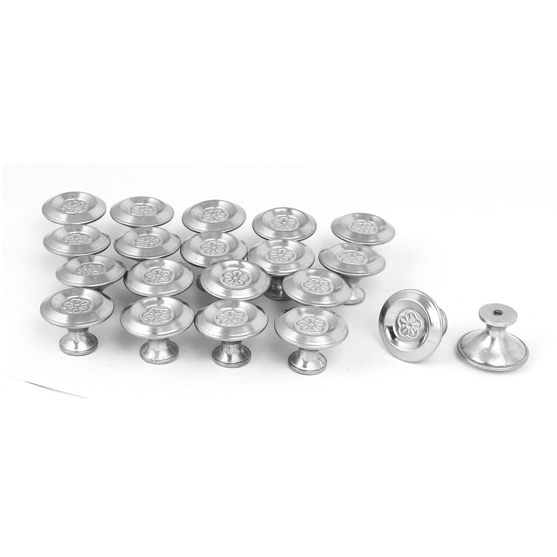 Cabinet Drawer Single Hole Flower Printed Pull Knobs Silver Tone 30mmx22mm 20pcs