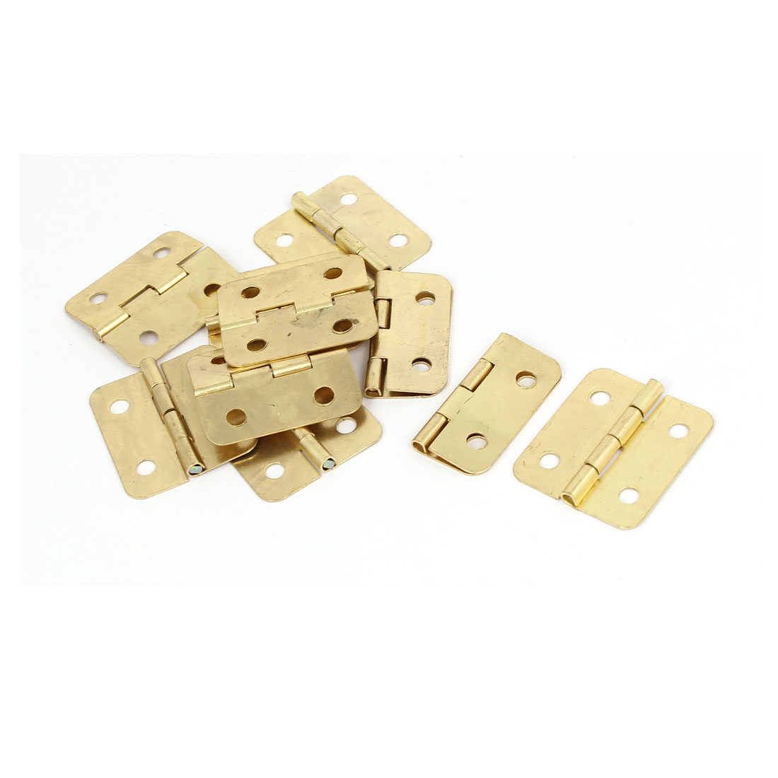 "Drawer Cupboard Door Metal Butt Hinges Gold Tone 1.2"" Length 10PCS"