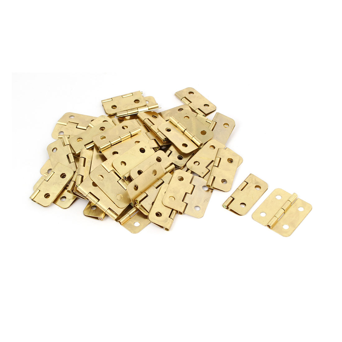 "Cabinet Drawer Cupboard Door Metal Butt Hinges Gold Tone 1.2"" Length 50PCS"