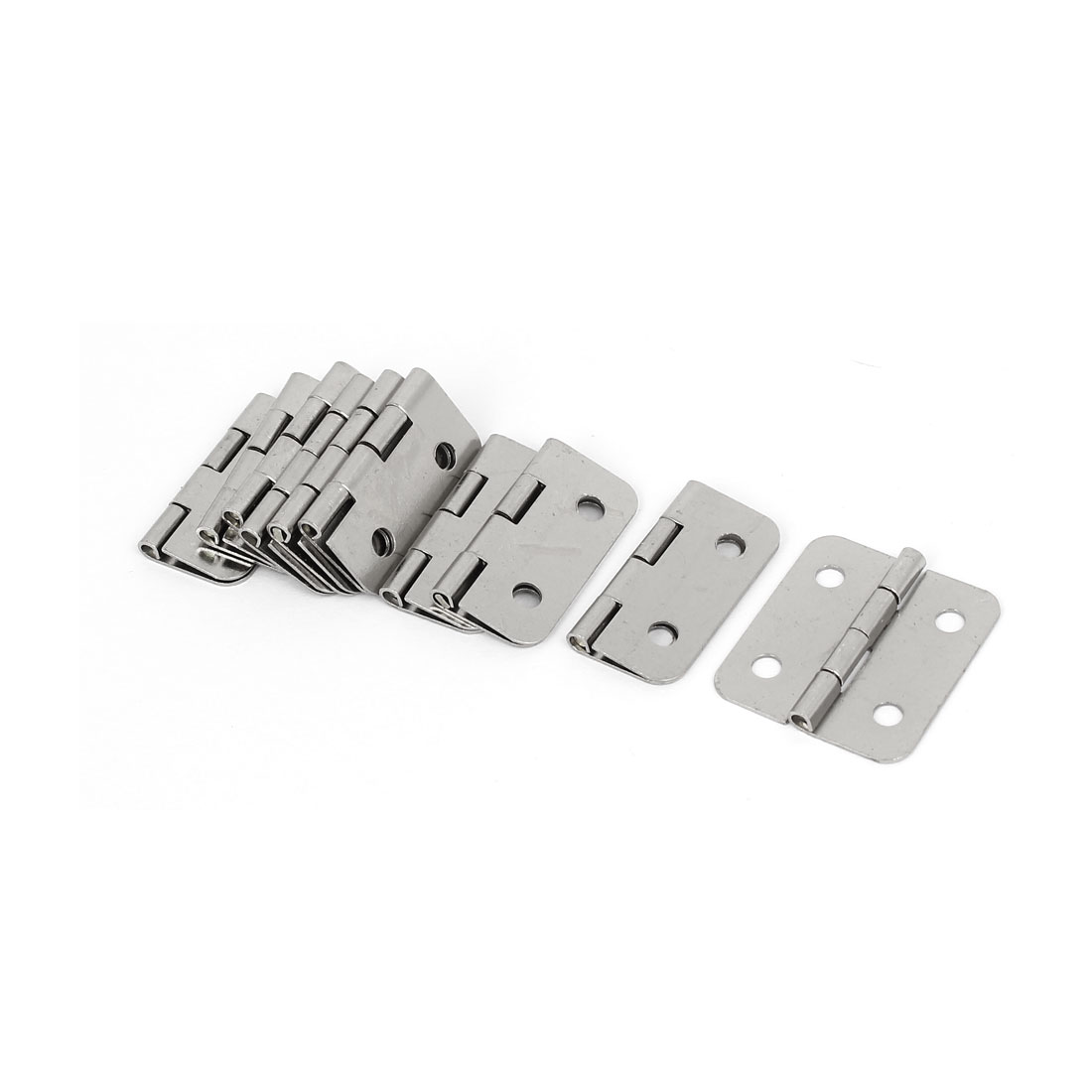 "Wooden Case Jewelry Box Drawer Metal Butt Hinges Silver Tone 1.2"" Length 10PCS"