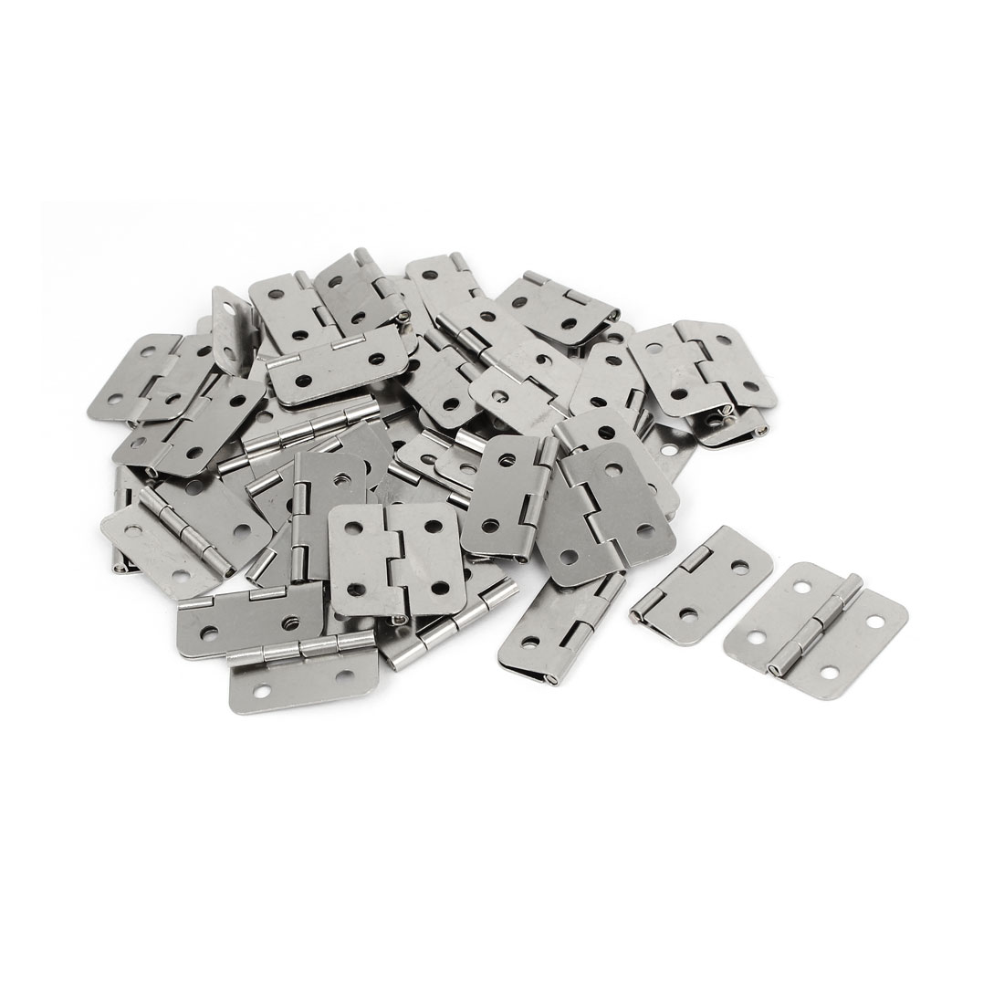 """Wooden Case Cupboard Drawer Metal Butt Hinges Silver Tone 1.2"""" Length 50PCS"""