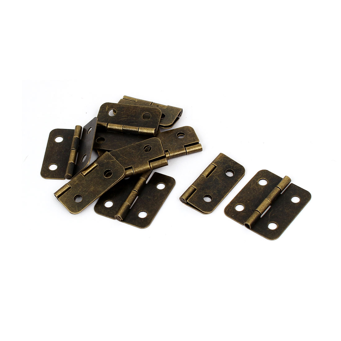 "Furniture Cupboard Door Metal Foldable Butt Hinges Bronze Tone 1.2"" Length 10PCS"