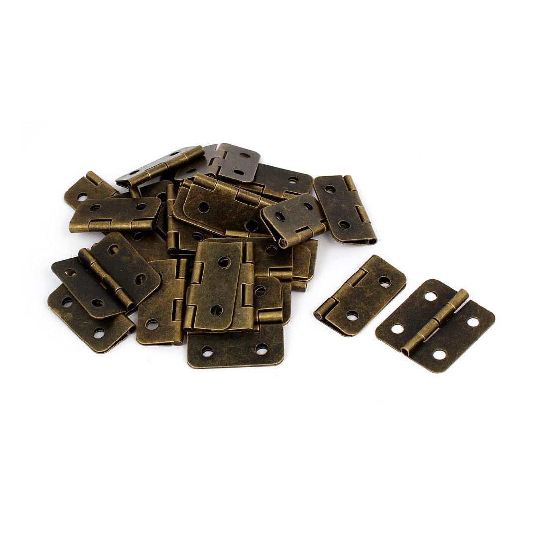 "Wooden Case Cabinet Metal Foldable Butt Hinges Bronze Tone 1.2"" Length 30PCS"