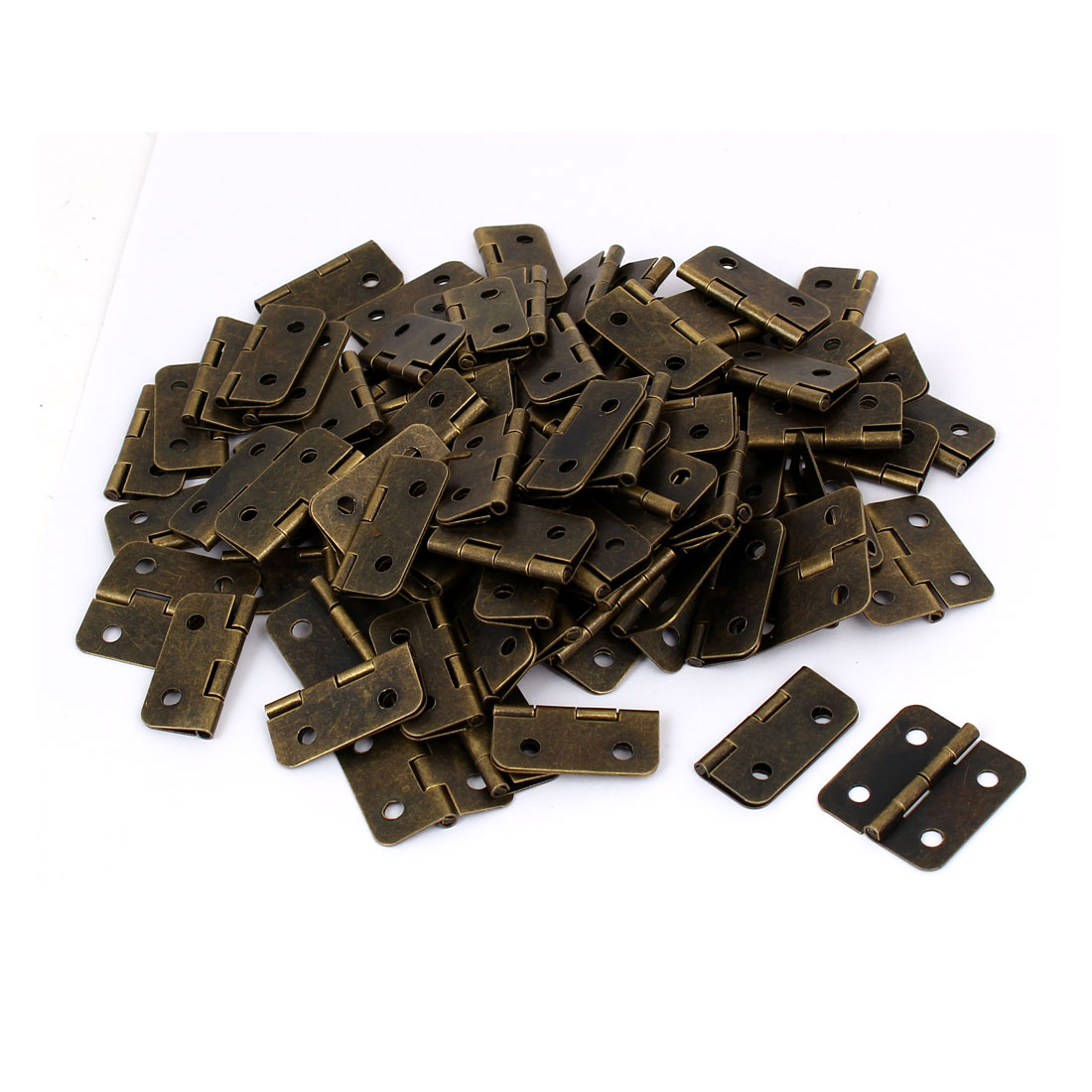"Drawer Cabinet Door Metal Foldable Butt Hinges Bronze Tone 1.2"" Length 100PCS"