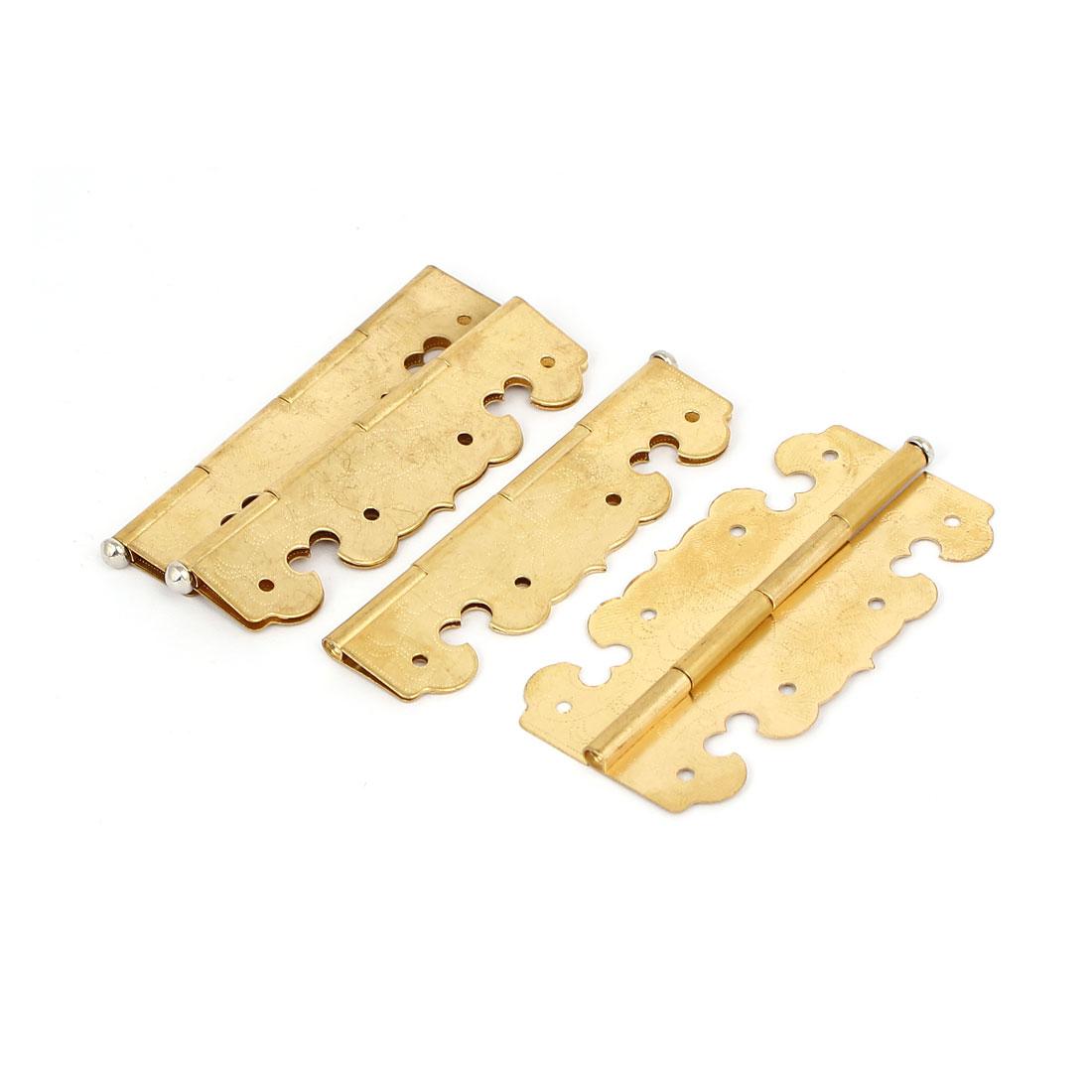 "Closet Cabinet Door Metal Rotatable Butt Hinges Gold Tone 2.7"" Length 4PCS"