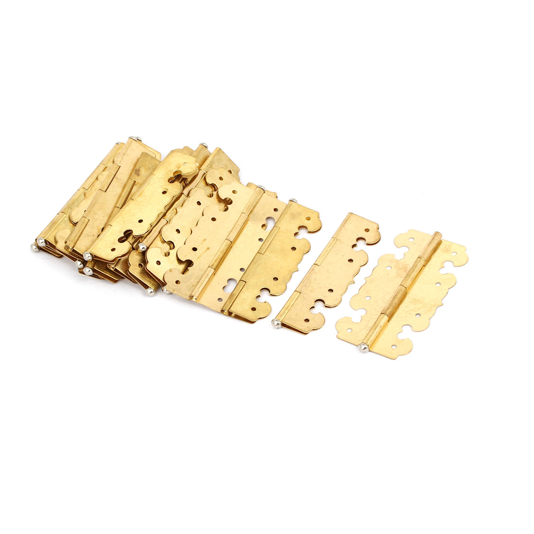 "Closet Cabinet Door Metal Rotatable Butt Hinges Gold Tone 2.7"" Length 20PCS"