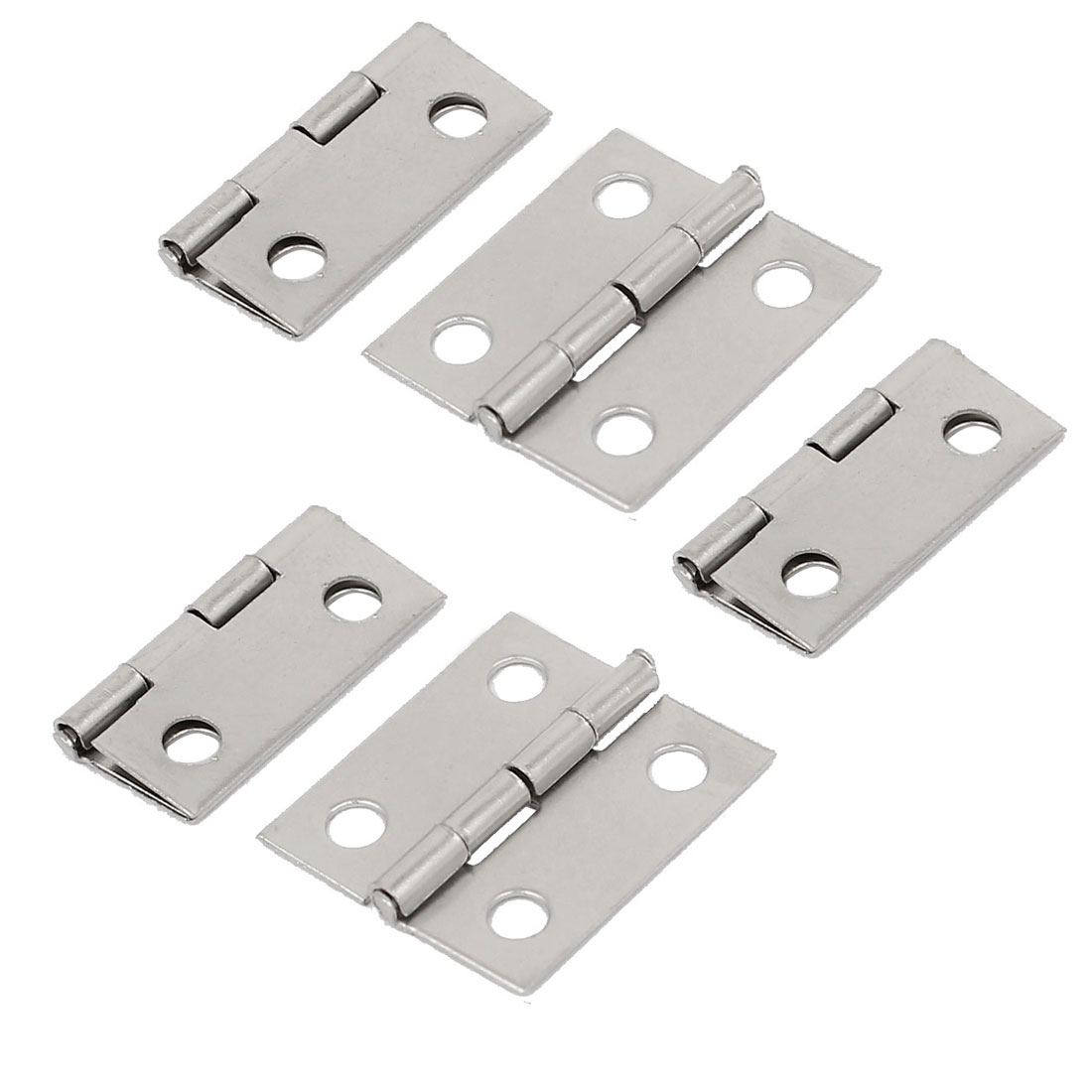 Jewelry Box Case Door Foldable Butt Hinges Silver Tone 18mm Length 5PCS