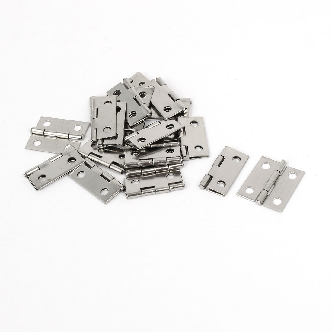 Jewelry Box Case Door Foldable Butt Hinges Silver Tone 18mm Length 20PCS