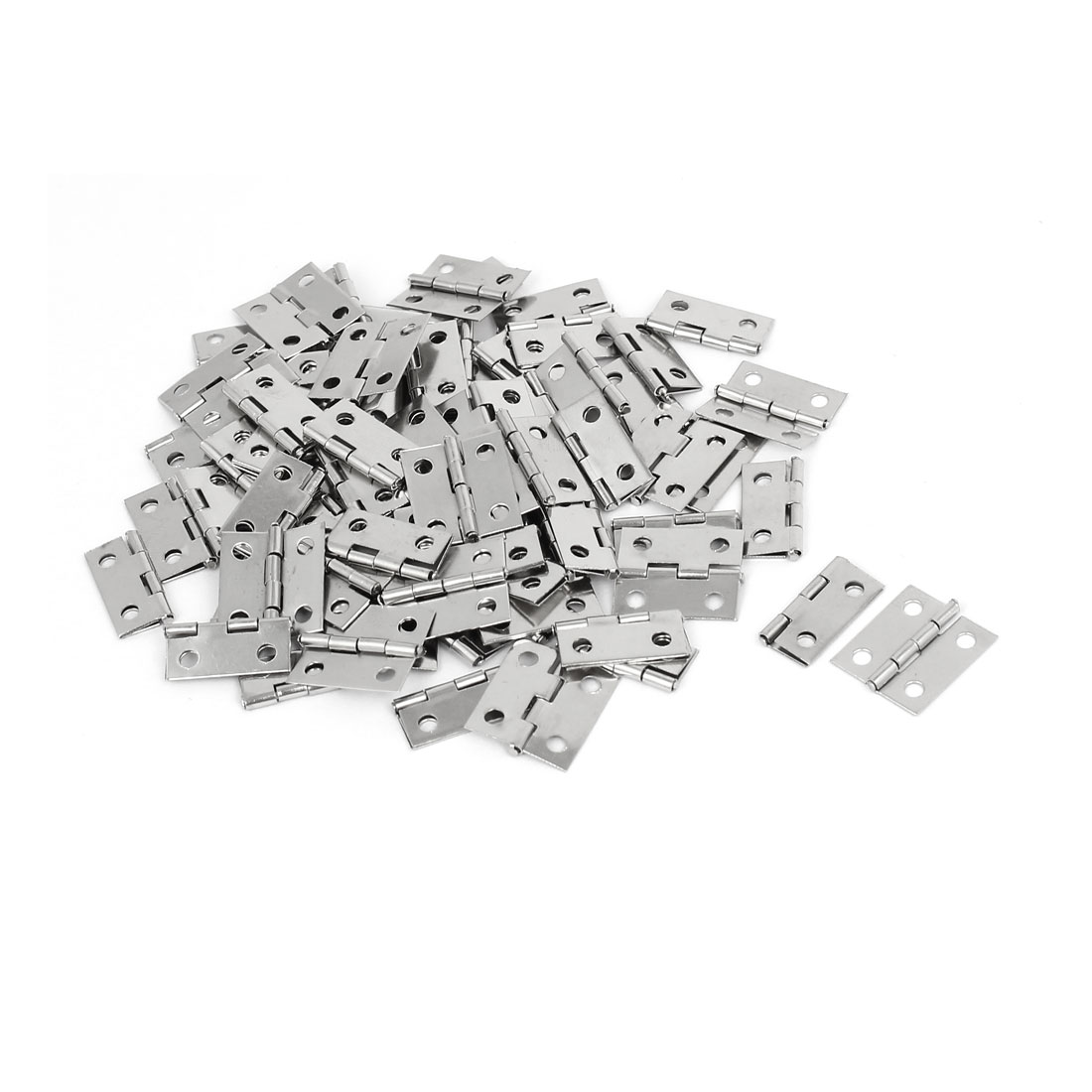 Gift Box Case Foldable Butt Hinges Silver Tone 18mm Length 80PCS