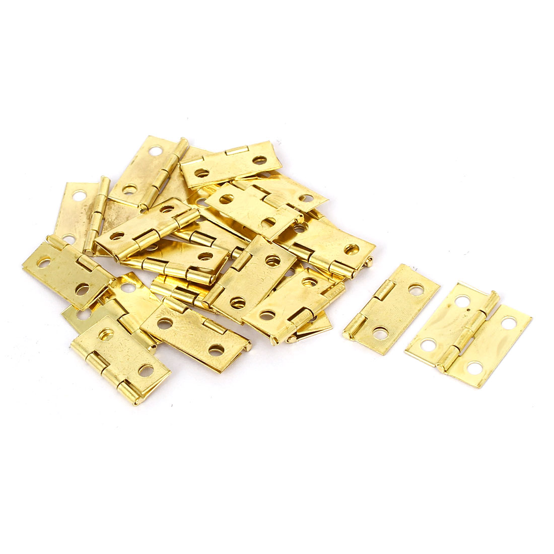 Jewelry Gift Box Wood Case Butt Hinges Gold Tone 18mm Length 20PCS