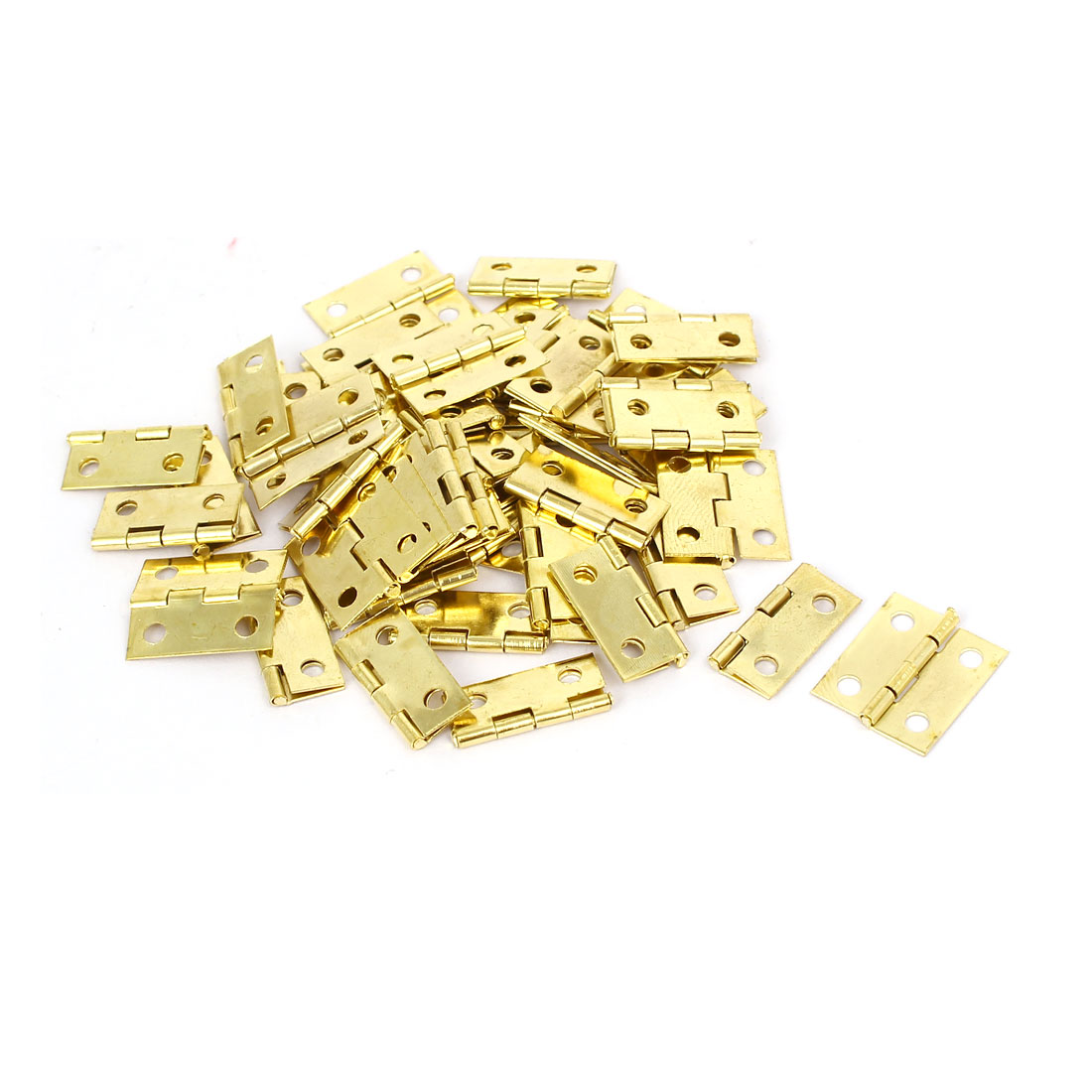 Jewelry Gift Box Wood Case Butt Hinges Gold Tone 18mm Length 50PCS