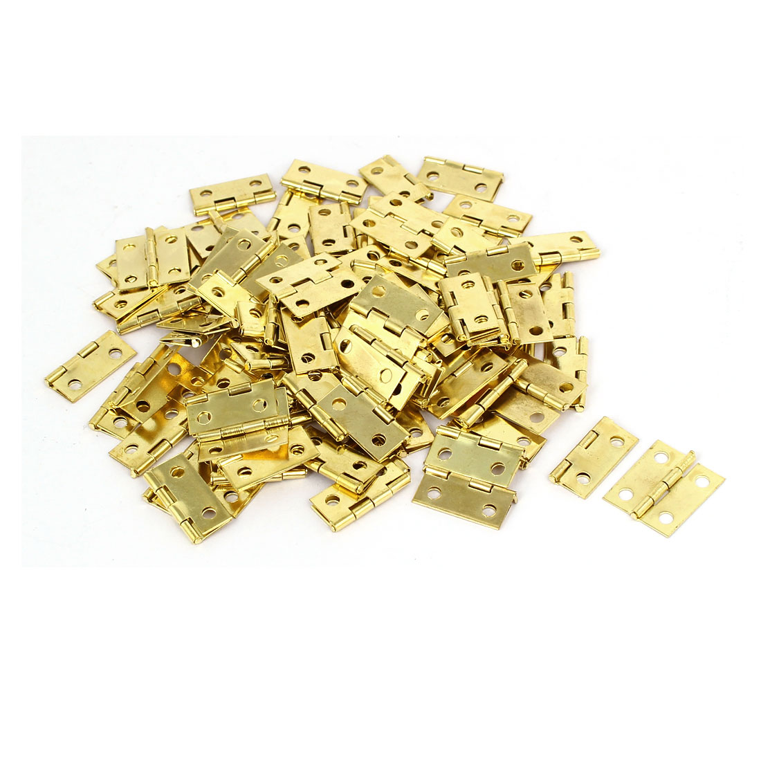 Jewelry Gift Box Wood Case Butt Hinges Gold Tone 18mm Length 100PCS
