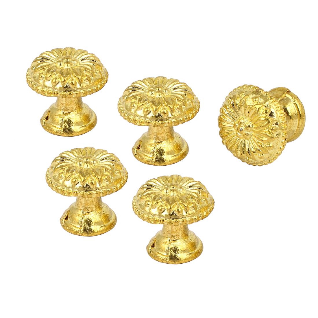 Cabinet Drawer Dresser Door Single Hole Round Pull Knob Gold Tone 5PCS