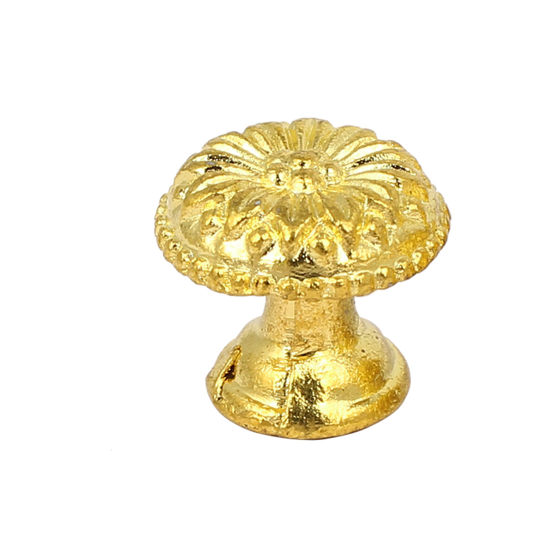 Cabinet Drawer Dresser Single Hole Metal Round Pull Knob Gold Tone