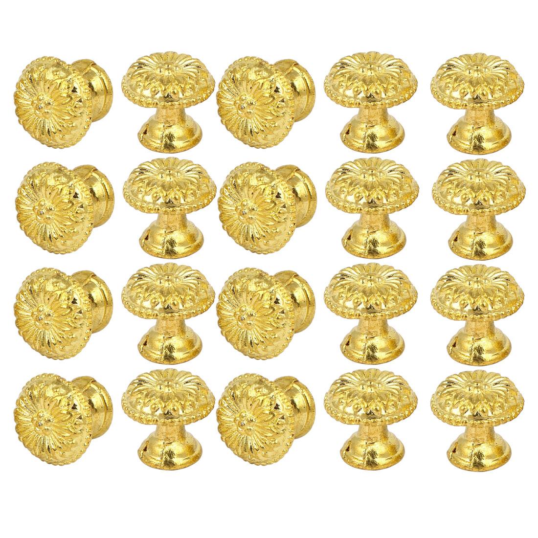Cabinet Cupboard Dresser Single Hole Round Pull Knob Gold Tone 20PCS