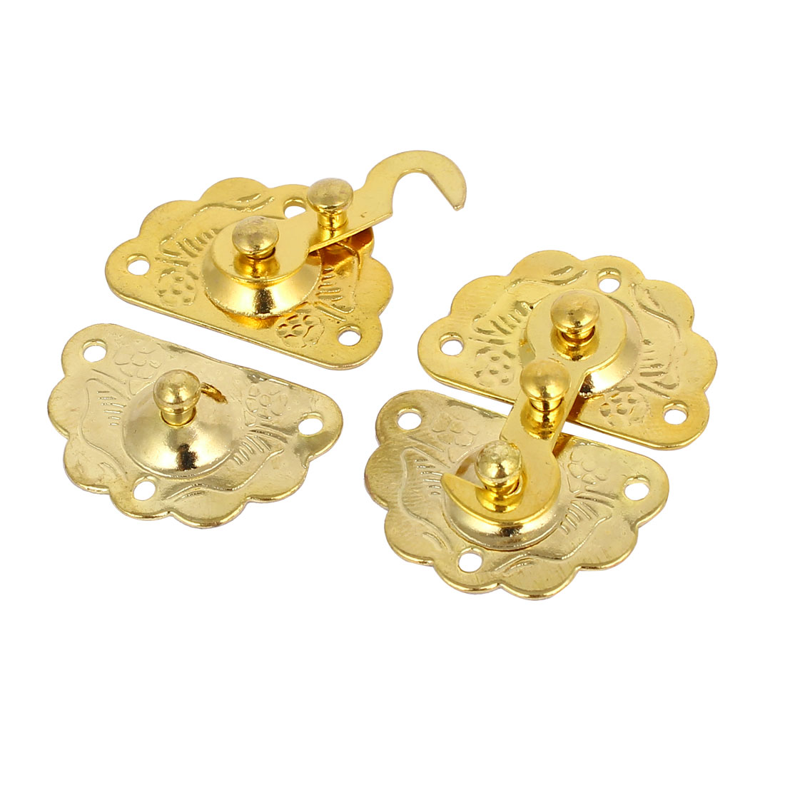 Chest Gift Box Case Lock Buckle Latches Toggle Hasp Gold Tone 2PCS