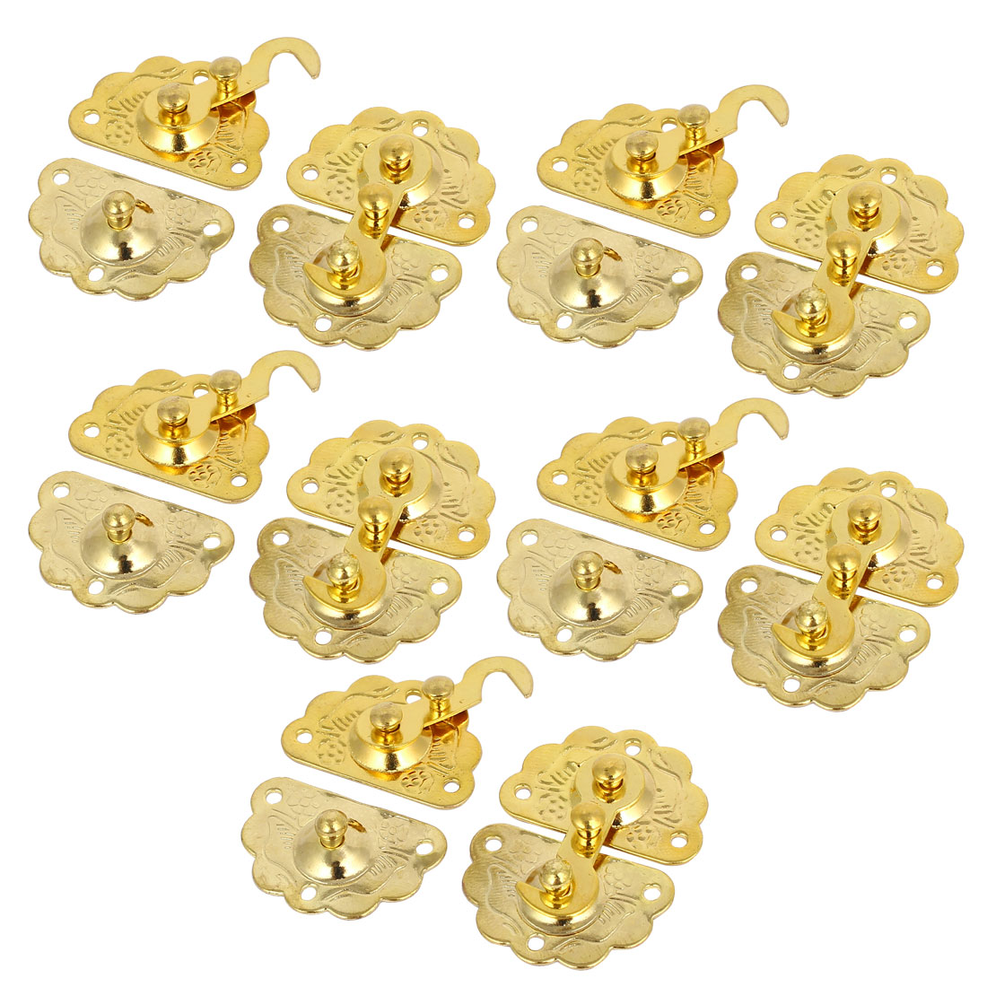 Chest Jewelry Box Case Lock Buckle Latches Toggle Hasp Gold Tone 10PCS