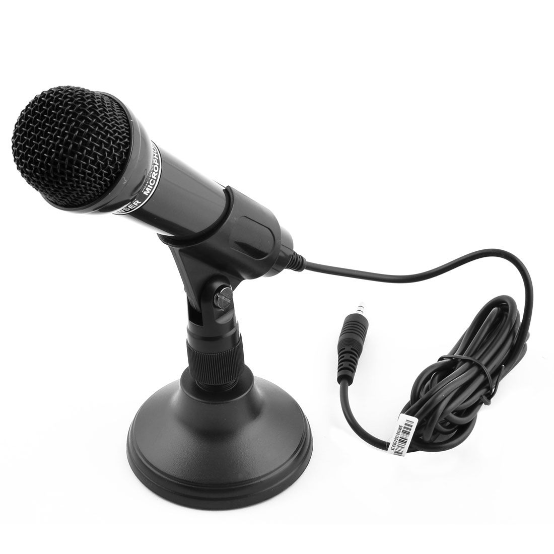 PC Computer Mini 3.5mm Connector Stereo Multimedia Condenser Stand Mount Handheld Microphone Black