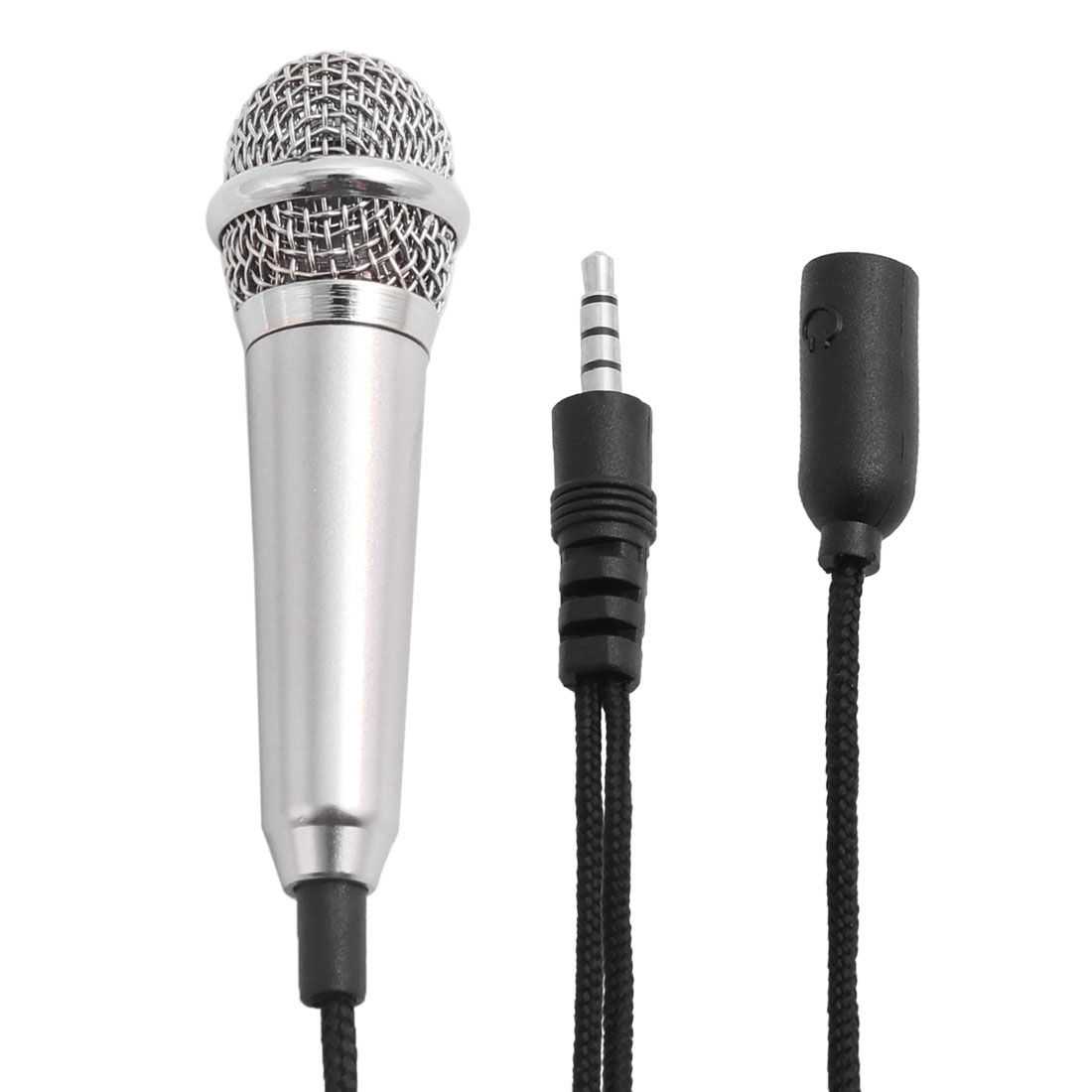 Portable 3.5mm Mini Smart Microphone Stereo Mic Gray w Base for Phone Singing