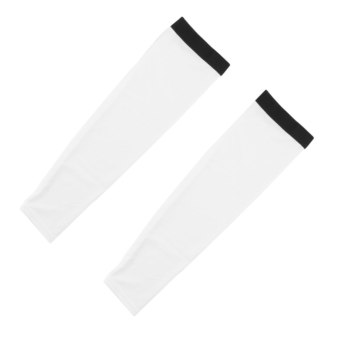 Outdoor Polyester Anti-UV Stretchy Arm Sleeve Protection Decor White Size M Pair