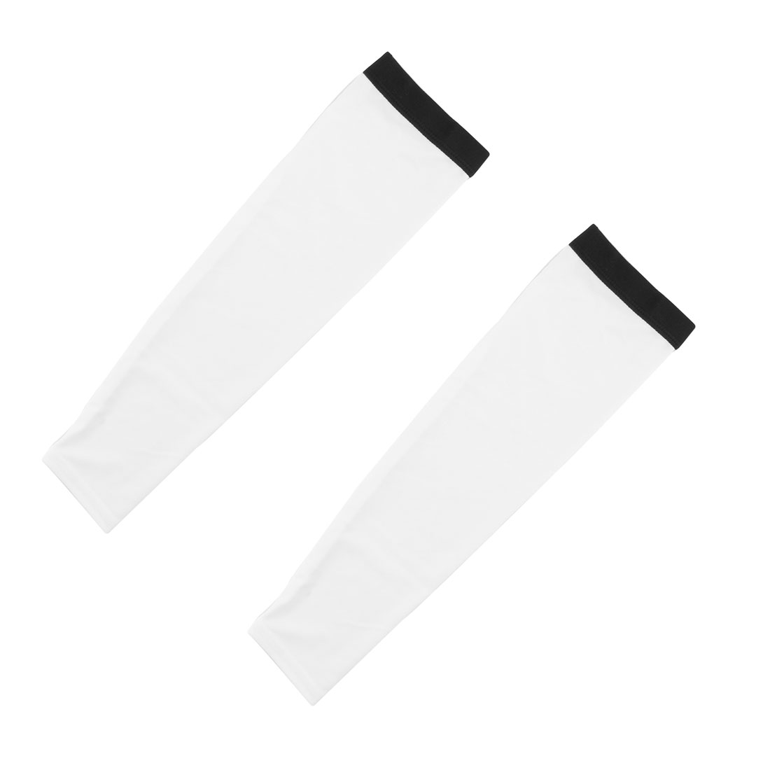 Outdoor Cycling Polyester Anti-UV Stretchy Arm Sleeves Cover Protection Decor White Size L Pair