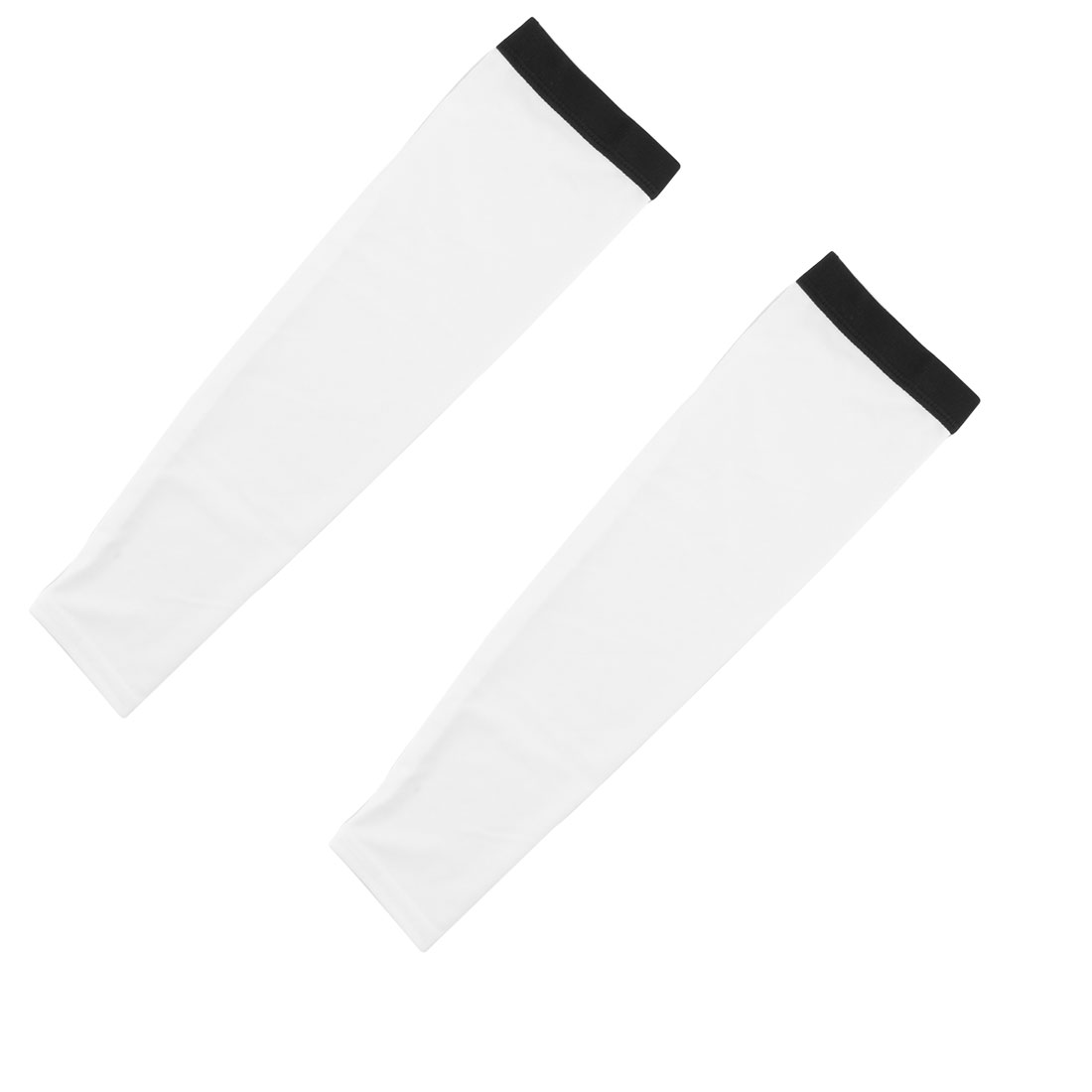 Outdoor Cycling Polyester Anti-UV Stretchy Arm Sleeves Cover Protection Decor White Size XXL Pair
