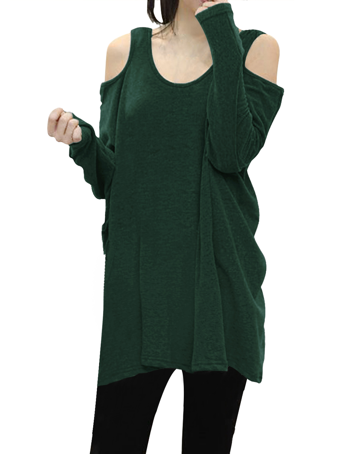 Ladies Scoop Neck Cut Out Shoulder Oversized Tunic Top Green S