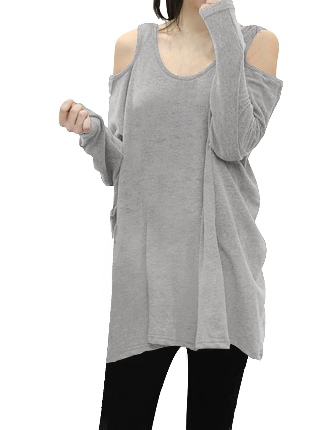 Ladies Scoop Neck Cut Out Shoulder Oversized Tunic Top Light Gray M