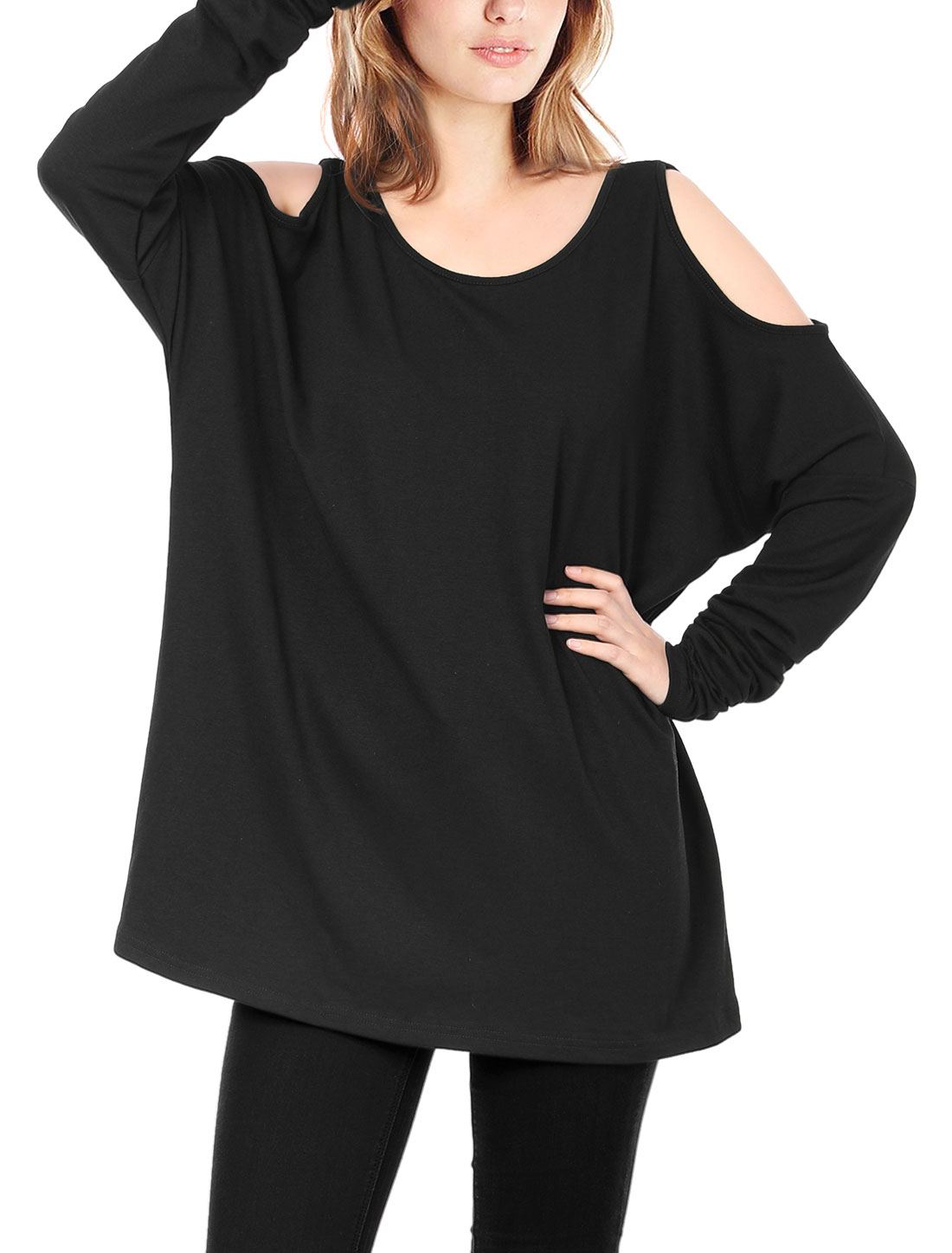 Women Scoop Neck Cut Out Shoulder Oversized Tunic Top Black S
