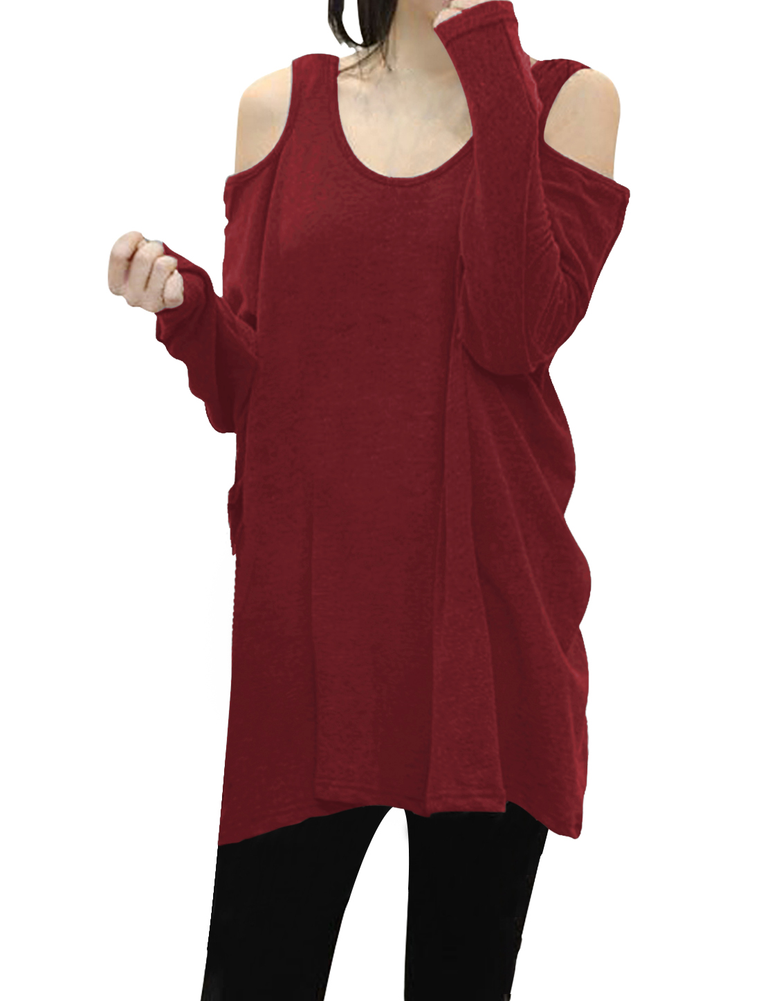 Ladies Scoop Neck Cut Out Shoulder Oversized Tunic Top Red L