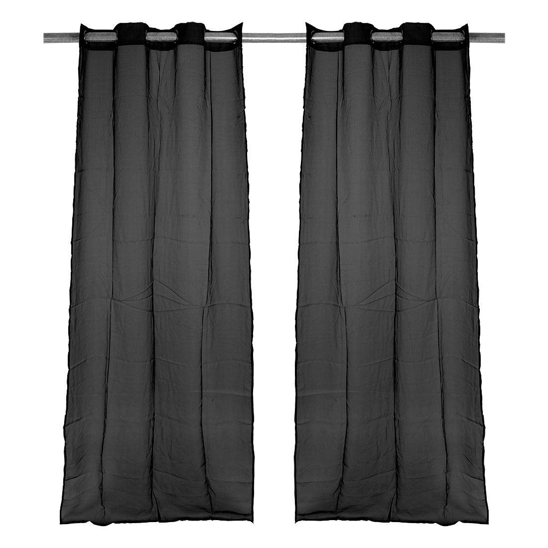 PiccoCasa Tulle Voile Window Drape Curtain Panel Divider Sheer Valances Black