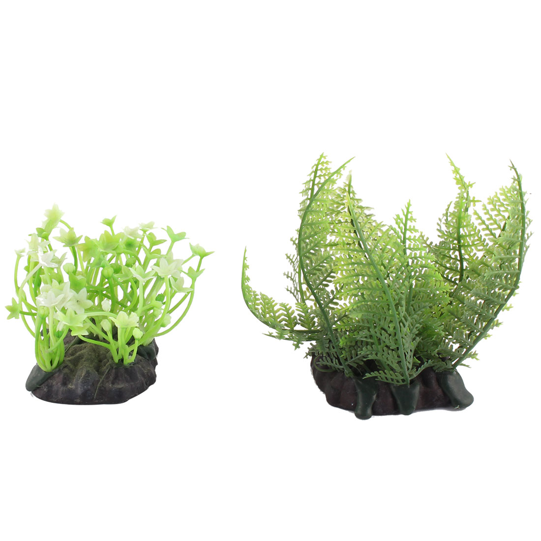 Fish Globe Aquarium Plastic Vivid Water Plant Grass Decoration Ornament 2 in 1