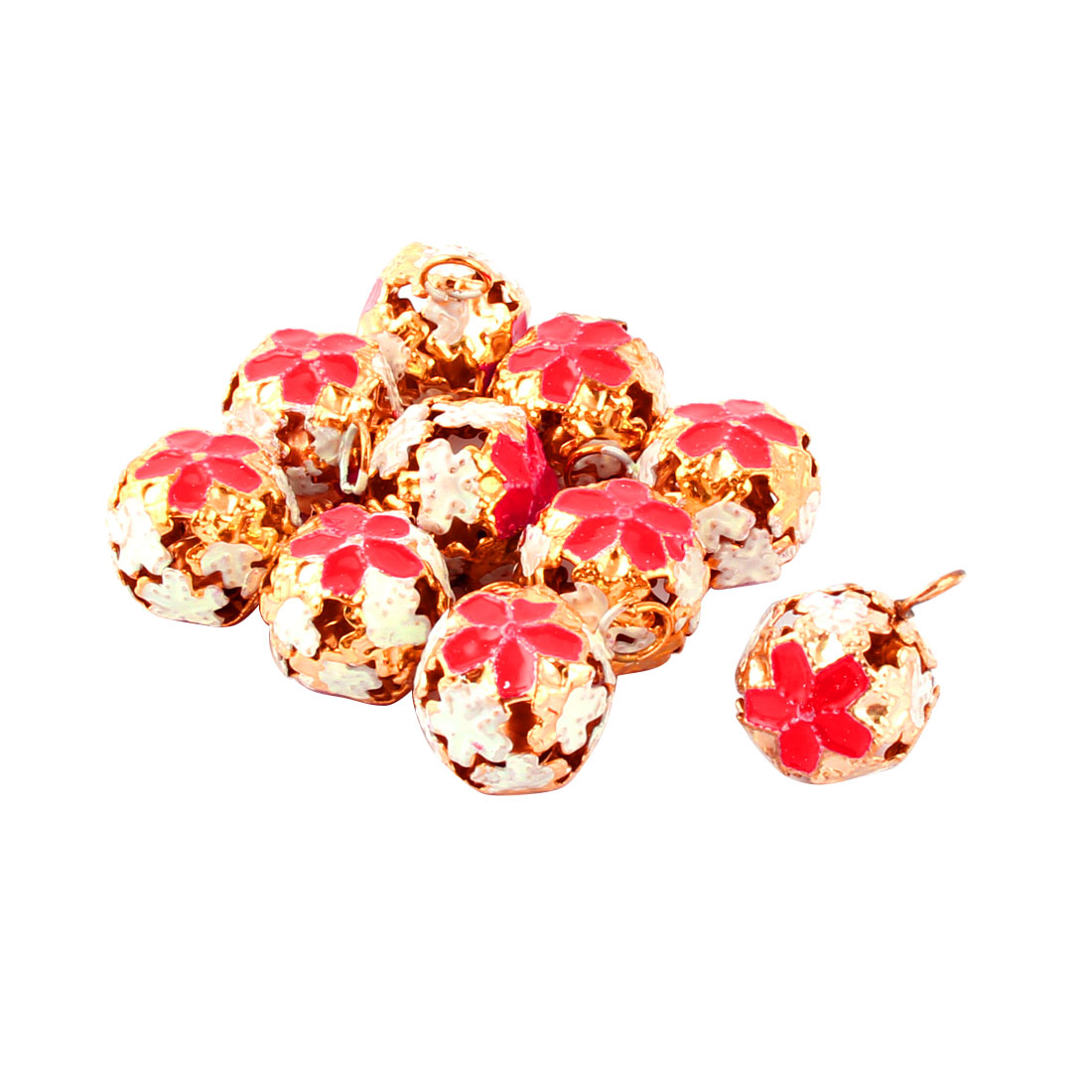 Holiday Flower Pattern Metal Hollow Out Design Christmas Tree Party Decor Ring Bell Red 10 Pcs