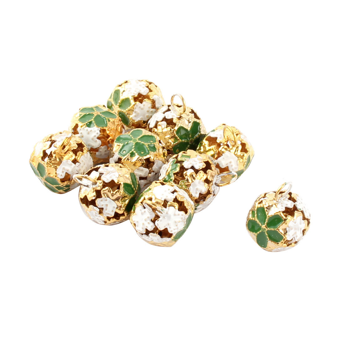 Holiday Flower Pattern Metal Hollow Out Design Christmas Tree Party Decor Ring Bell Green 10 Pcs