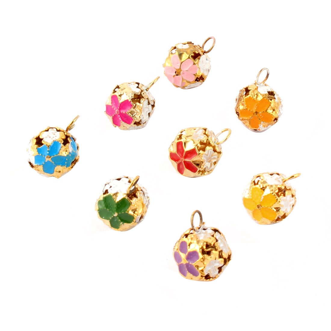 Holiday Flower Pattern Hollow Out Design Christmas Tree Party Decor Ring Bell Assorted Color 8 Pcs