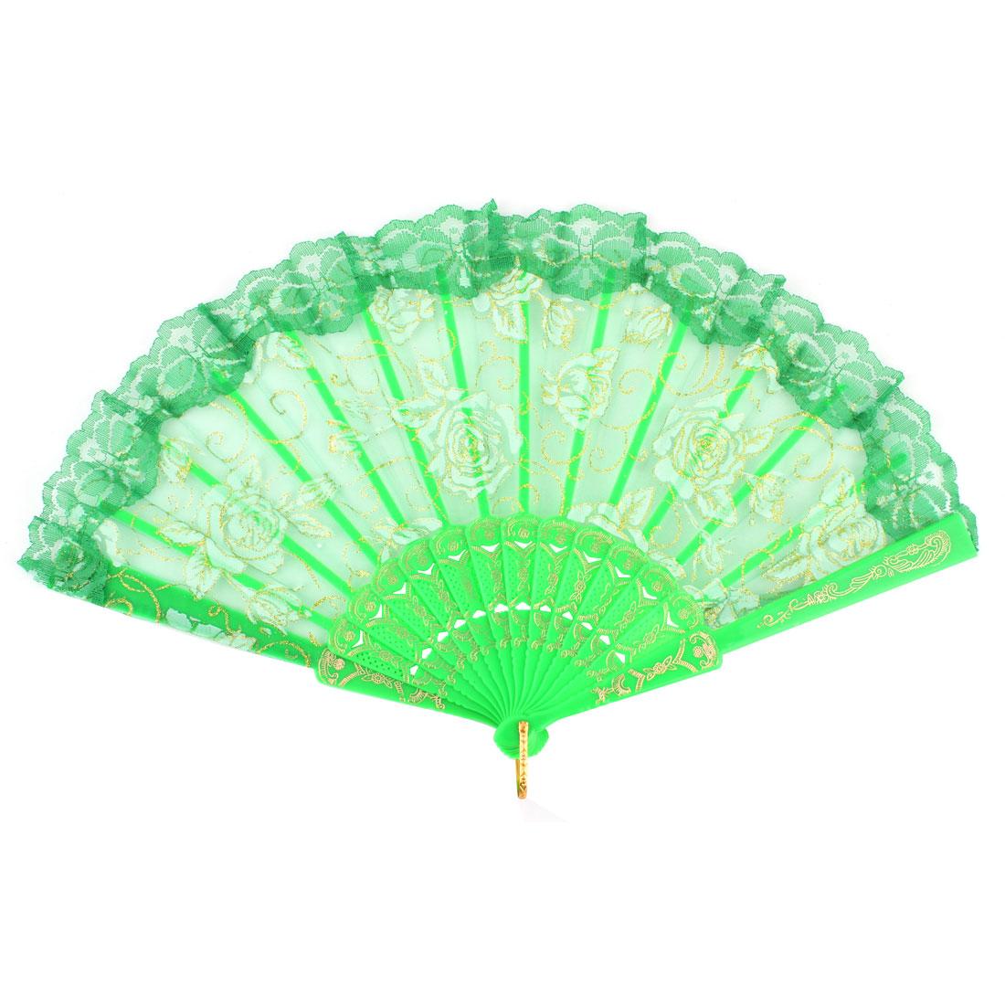 Glittery Outline Rose Pattern Lace Detail Decorative Folding Hand Fan Green